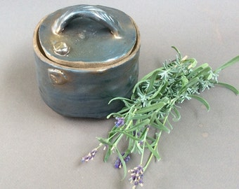 handmade Square jar/ metalic/ container/ ceramic/ pottery/storage/ decorative/ ready to ship/ blue lining