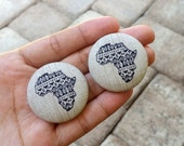 Abyssinia (In Large) ~~ African Print Fabric Button Earrings. LARGE. 1.5 Inches. Lead Free. Nickel Free. Tarnish Free