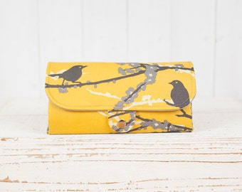SmartPhone Purse 12x - Ultimate Wallet Clutch with ID pocket /  Hello Birdie in Mustard -- Ready to Ship