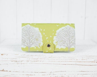 BiFold Clutch Wallet - Tree Prints Wallet - Vegan Wallet / Majestic Oak Trees in Grass -- Ready to Ship
