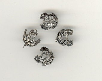 4 RARE Antique Bead Caps With Hole & Ring Pewter Or Silver Ox Fancy Filigree Pliable 10mm To Larger No.62A