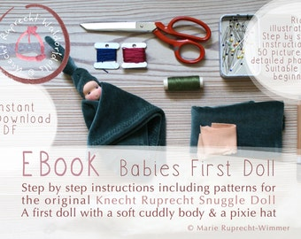 TUTORIAL + PATTERN - DIY EBook Babies First Doll in English - Snuggle Doll Waldorfdoll - Instant Download Tutorial -Step by Step Instruction