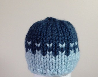 Baby Hat, Knit Baby Hat, Boy hat, Girl hat, Fair Isle Baby Hat, Light Blue and Denim Blue