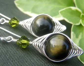 Tiger's Eye Earrings Sterling Silver, Herringbone Wirewrapped Weave, Sterling Silver Wirework, Blue Tiger's Eye Gemstone