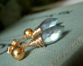 Petite Labradorite Earrings on Goldfilled Posts, Labradorite Post Earrings, Blue Wirewrapped Fiery Gemstone, Labradorite Dewdrop