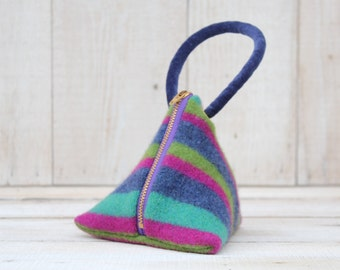 Triangle Pouch in  Blue Pink and Green Stripes
