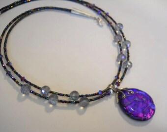 "Glass Bead Necklace, Purple Pendant, Dichroic Glass Pendant, Elegant Beaded Necklace, Double Strand Necklace, 18"""