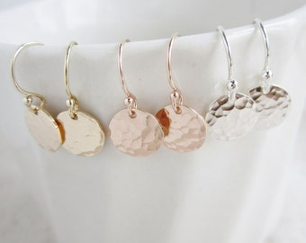 Dainty earrings for bridesmaids, hammered disc earrings, sterling silver, yellow gold filled or rose gold filled available