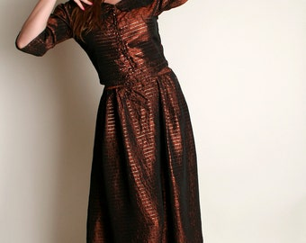 Vintage 1950s Evening Dress - Chocolate Bronze Brown and Gold Striped Blouse and Skirt Set - Medium