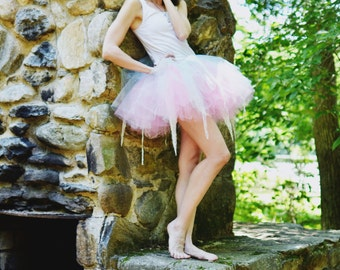 Pastel pixie ragged tulle lace tutu adult skirt dance halloween rave run race gogo fairy costume -You Choose Size -- Sisters of the Moon