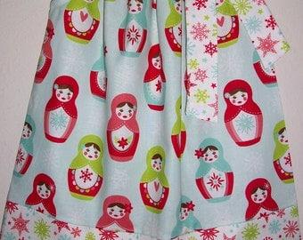Christmas Dress Pillowcase Dress Merry Matryoshka Dress with Dolls Riley Blake girls dresses Babushka Dress Holiday Dress for Christmas