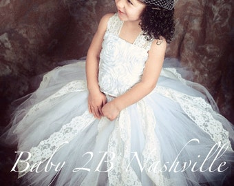 Vintage Flower Girl Dress White Satin Rosette with Ivory Lace  All Sizes