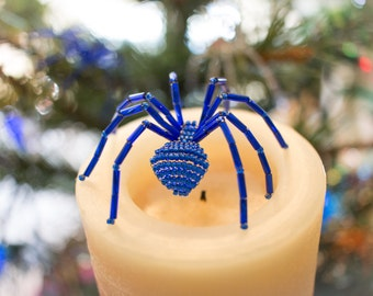 Sapphire Blue Beaded Spider Ornament - Includes the Legend of the Christmas Spider story