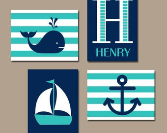 Hamptons WHALE Nursery Wall Art, Canvas or Print, Sailboat Anchor, Baby Boy Artwork, Nautical Coastal Boys Bedroom, Set of 4, Above Crib