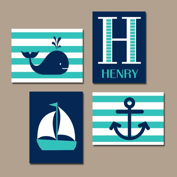 Hamptons WHALE Nursery Wall Art Canvas or Print Sailboat