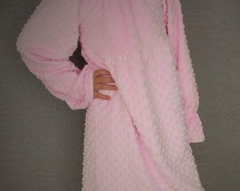 Girls Easter Pink Peasant  Dress Boutique Minky Spring Dress