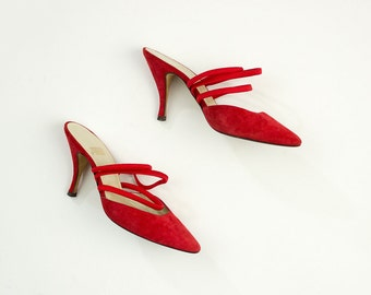 90s Vintage Allure Red Suede Strappy Stiletto Pumps / Size US 6 1/2 / 6.5