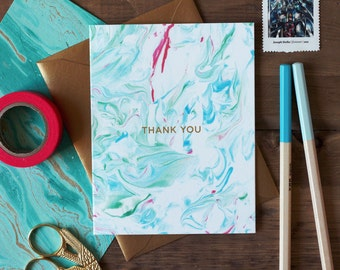 Greeting Card Thank You Pastel Marble / Aqua Pink Green / Brush Stroke / Painted / Pastel