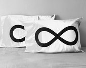 Infinity Pillow Case Set, couples gift, wedding gift, husband gift, gift for him, for wife, gift for her, 8th anniversary, cotton bedding