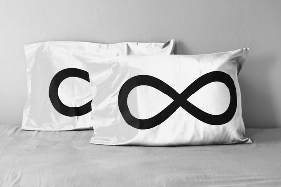 Infinity Pillow Case Set, husband gift, gift for him, gift for wife, gift for her, gift for women, couples, 8th anniversary, cotton bedding