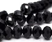 Black, 8mm, Faceted Rondelle, 20 Pieces, 8GL13-0001