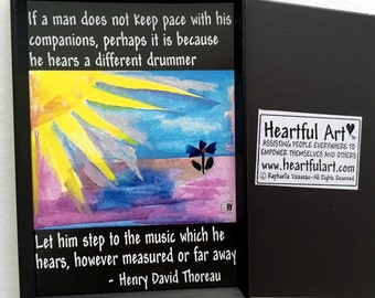 If A Man Does Not Keep Pace THOREAU MAGNET Inspirational Quote Motivational Print Friendship Man Gifts Heartful Art by Raphaella Vaisseau