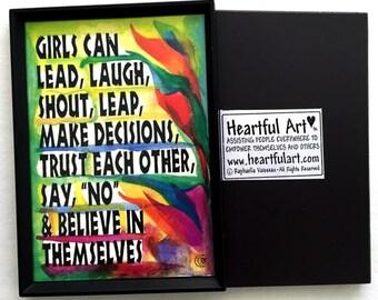 What GIRLS Can Do MAGNET Inspirational Original Motivational CLASSROOM Decor Confidence Strength Children Heartful Art by Raphaella Vaisseau