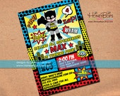 Superhero Invitation Batman and Robin, or Batman, or Robin or Superman - Personalized Printable File