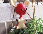 Vintage 1960's Dakin Dream Pets Mouse Doll Red Mouse Figurine 60's Mouse Toy Vintage Japanese Import Vintage Kawaii