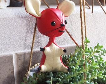Vintage 1960's Dakin Dream Pets Mouse Doll Red Mouse Figurine 60's Mouse Toy Vintage Japanese Import Vintage Kawaii