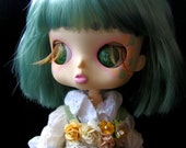 Pearl Grass Green Special Edition Zombuki Basil Eye Chips for Blythe or Byul Dolls
