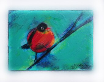 Red Robbin, saying goodbye, aceo original,  #EtsyGifts , 2.50x3.50 inches. turquoise blue, birds, nature photography, fine art photography