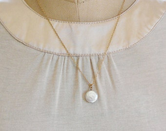 Coin Pear Pendant Necklace, Cream Pearl 18 inch 14kt Gold Filled Chain Jewelry Mothers Day Birthday BFF Gift