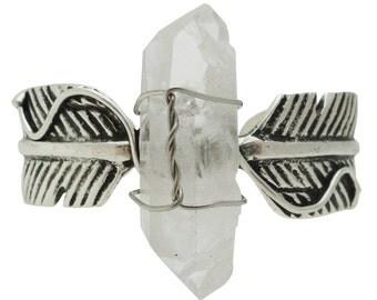 Bohemian glamour antique silver feather cuff bracelet with quartz stone point