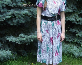 Magenta and Teal Abstract Print Dress (Vintage Deadstock)
