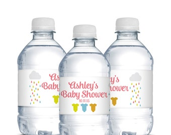 Water Bottle Labels, Baby Shower Favors, Girl Baby Shower, Boy Baby Shower, Gender Neutral, Waterproof Water Bottle Labels, Baby Girl Shower