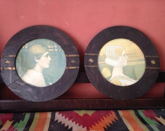 Pair of Mission Oak Arts & Crafts Framed Portraits 1901 Queen Wilhelmina of the Netherlands