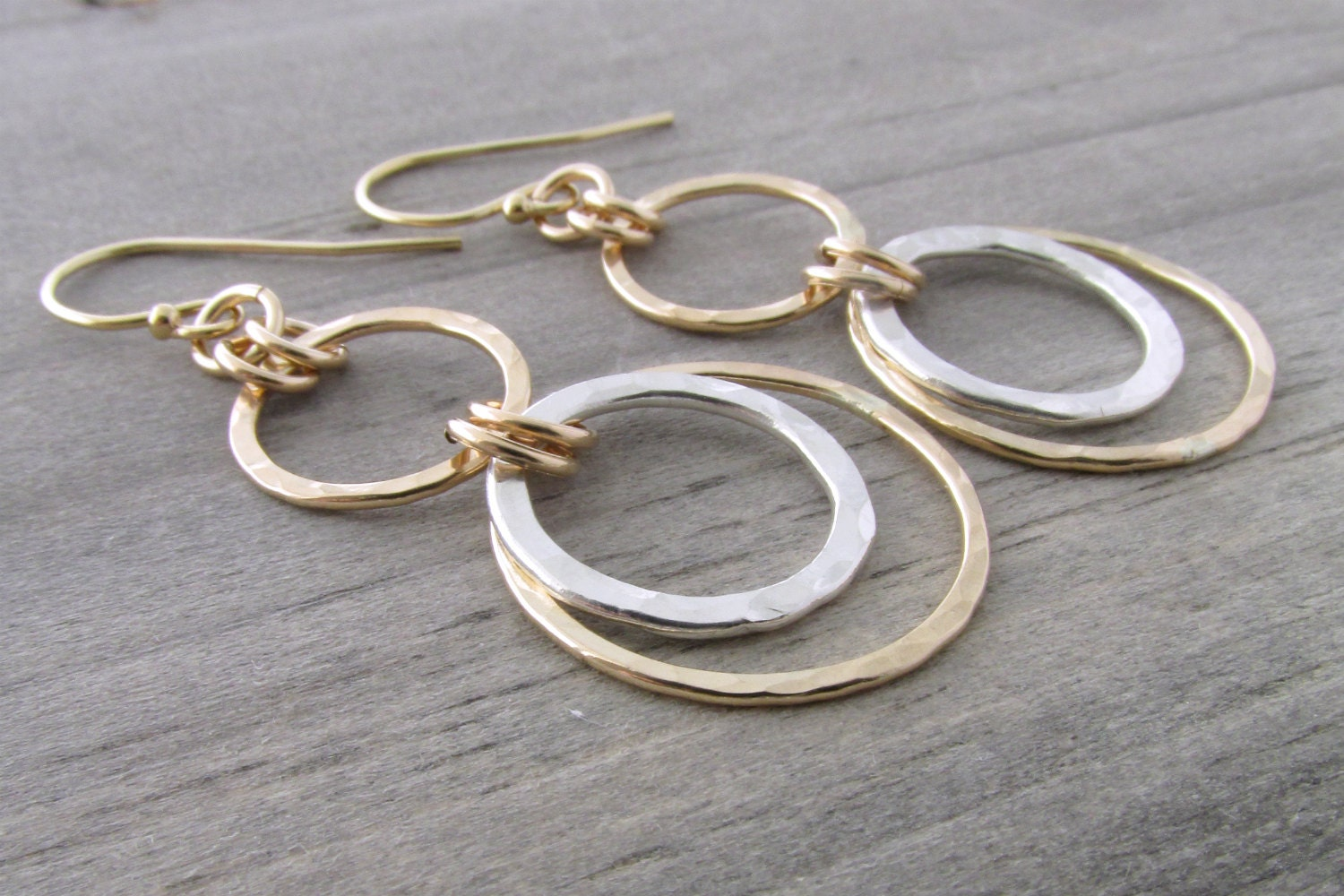 Mixed metal earrings gold and silver dangle