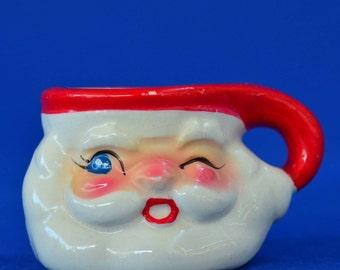 Vintage Miniature Christmas Winking Santa Mug