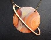 Saturn Necklace, Capricorn Necklace, Aquarius Necklace, Hammered Copper Necklace, Planet Necklace, Zodiac Necklace, Astrology Jewelry