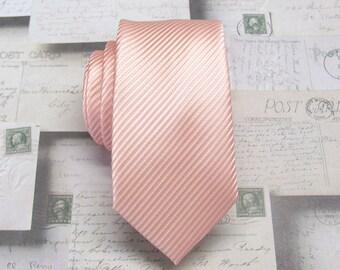 Peach Tie Mens Tie Pale Peach Stripes Skinny Necktie With Matching Pocket Squrae