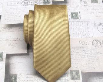 Mens Ties Dusty Gold Stripes Skinny Necktie. Wedding Ties. Skinny Ties