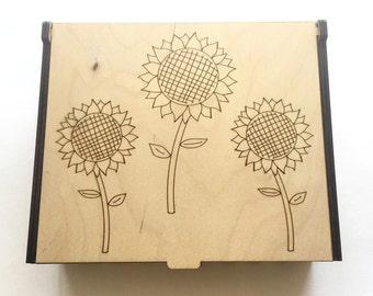 Sunflower Essential Oil Box, Medium Box, Aromatherapy Storage Box, Floral Essential Oil Case, Aromatherapy Oil Organizer, Oil Display