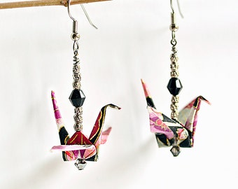 Boho earrings for friends| Romantic jewelry for girlfriend| Purple earrings for daigjter| Origami wedding anniversary paper| Origami cranes