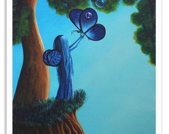fairy art, blue fairy, fairy art prints, fairy dreams, fairy with butterfly, fairy pictures, blue art prints, whimsical art, fine art, blue