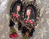 Lilygrace Sassy Black Bettie Page Cameo Earrings with Vintage Rhinestones and Cherries
