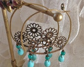 Lilygrace Medium Filigree Hoop Earrings with Turquoise Glass Beads