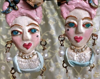 Lilygrace Handmodelled Marie Antoinette Bust Earrings with Freshwater Pearls and Vintage Rhinestone