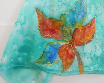 Hand Painted Silk Scarf Original - Croton Tropical Leaves - Kauai Hawaii Hawaiian - Square Silk Scarf - Silk Scarves - Unique Gifts for Mom