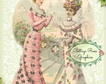 Vintage 1900 Victorian fashion ladies Summer Roses Large digital download  BUY 3 get one FREE ecs svfteam